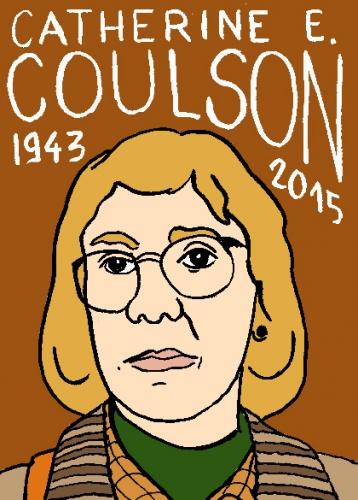 mort de catherine E. Couson,log lady,, dessin, portrait, laurent jacquy,répertoire des macchabées célèbres,mort d'homme,