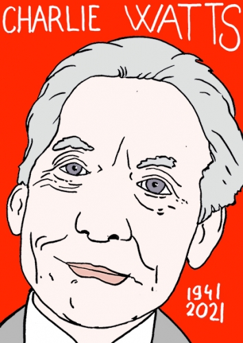 mort de Charlie Watts,dessin,portrait,laurent Jacquy