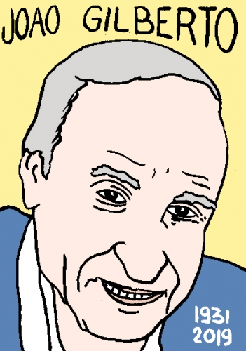 mort de Joao Gilberto, dessin, portrait, laurent jacquy,répertoire des macchabées célèbres,mort d'homme,