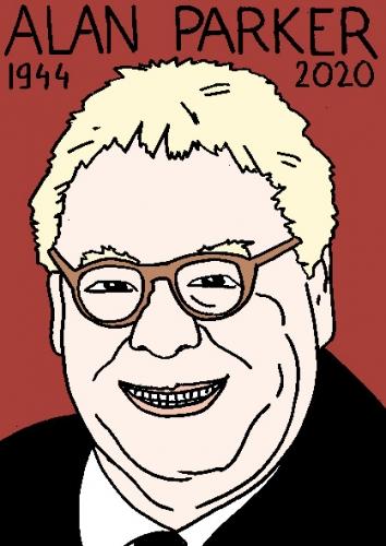 mort d'alan Parker, dessin, portrait, laurent jacquy,répertoire des macchabées célèbres,mort d'homme,