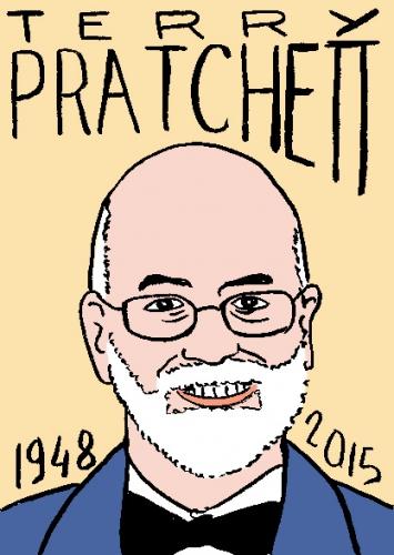 mort de terry pratchet, dessin, portrait, laurent jacquy,visage,répertoire des macchabbées célèbres, mort d'homme