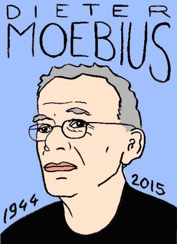 mort de dieter moebius, dessin, portrait, laurent jacquy,répertoire des macchabbées célèbres, visage,mort d'homme