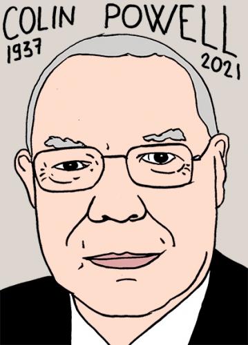 mort de Colin Powell,dessin,portrait,laurent Jacquy