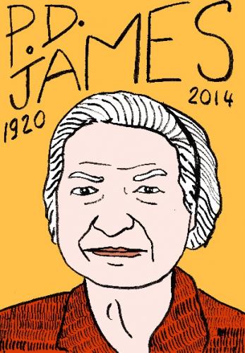 mort deP.D. James,dessin,portrait,laurent jacquy,répertoire des macchabées célèbres