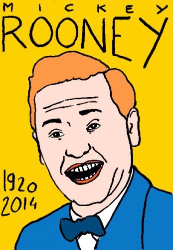 Mort de mickey rooney,portrait,dessin,laurent jacquy,répertoire des macchabées célèbres,cinéma