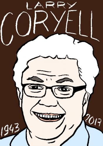 mort de larry Corryell dessin, portrait, laurent jacquy,répertoire des macchabées célèbres,mort d'homme,