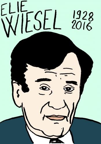 mort d'elie wiesel, dessin, portrait, laurent jacquy,répertoire des macchabées célèbres,mort d'homme,