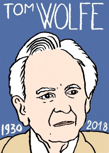 mort de Tom Wolfe, dessin, portrait, laurent jacquy,répertoire des macchabées célèbres,mort d'homme,