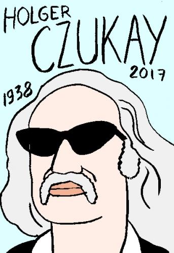 mort deHolger Czukay, dessin, portrait, laurent jacquy,répertoire des macchabées célèbres,mort d'homme,