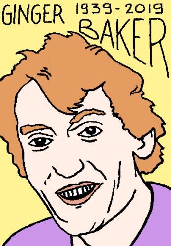 mort de Ginger Baker, dessin, portrait, laurent jacquy,répertoire des macchabées célèbres,mort d'homme,