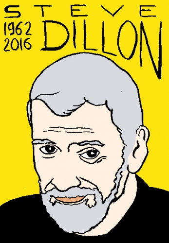 mort de steve dillon, dessin, portrait, laurent jacquy,répertoire des macchabées célèbres,mort d'homme,