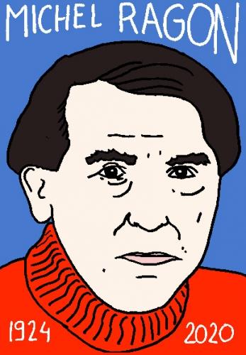 mort de Michel Ragon, dessin, portrait, laurent jacquy,répertoire des macchabées célèbres,mort d'homme,