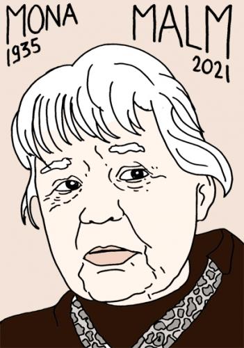 mort de Mona Malm,dessin,portrait,laurent Jacquy