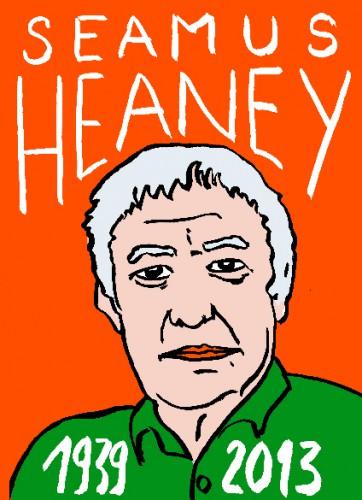 Seamus Heaney,portrait,dessin,laurent jacqut,french outsider,répertoire des maccahbées célèbres,les beaux dimanches