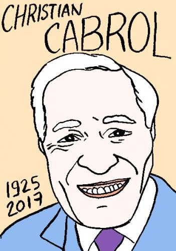 mort de Christian Cabrol, dessin, portrait, laurent jacquy,répertoire des macchabées célèbres,mort d'homme,