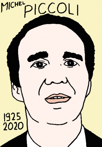 mort de Michel Piccoli, dessin, portrait, laurent jacquy,répertoire des macchabées célèbres,mort d'homme,