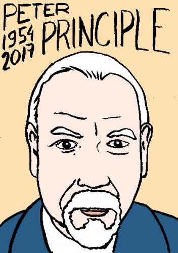 mort de peter principle, dessin, portrait, laurent jacquy,répertoire des macchabées célèbres,mort d'homme,