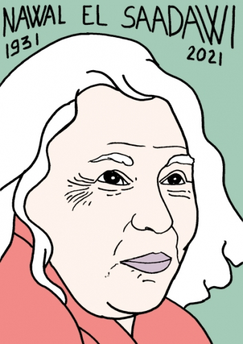 mort de Nawal El Saadawi,dessin,portrait,laurent Jacquy,poésie