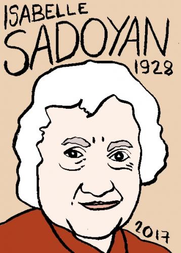 mort d'isabelle Sadoyan, dessin, portrait, laurent jacquy,répertoire des macchabées célèbres,mort d'homme,