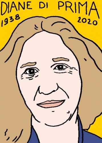 mort de Diane di Prima, dessin, portrait, laurent jacquy,répertoire des macchabées célèbres,mort d'homme,