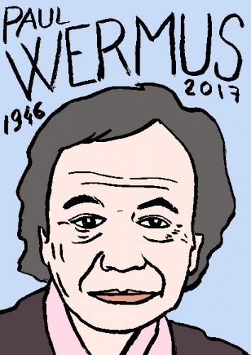 mort de Paul Wermus, dessin, portrait, laurent jacquy,répertoire des macchabées célèbres,mort d'homme,