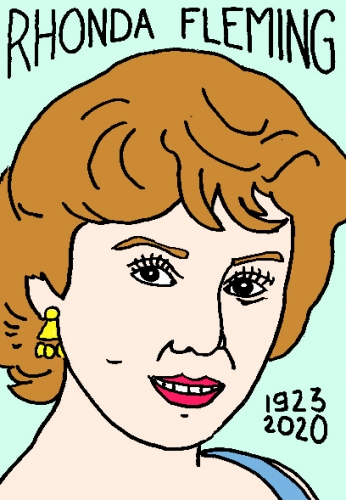 mort de Rhonda Fleming, dessin, portrait, laurent jacquy,répertoire des macchabées célèbres,mort d'homme,