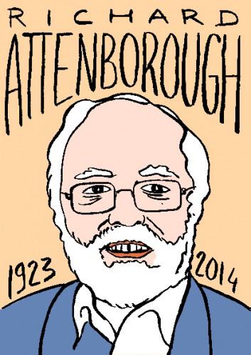 mort de richard attenborough,dessin,portrait,laurent jacquy,répertire des macchabées célèbres