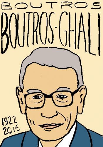 mort de boutros boutros-ghali, dessin, portrait, laurent jacquy,répertoire des macchabées célèbres,mort d'homme,