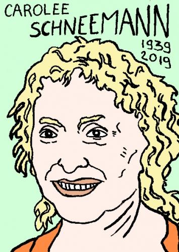 mort de Carolee Schneemann, dessin, portrait, laurent jacquy,répertoire des macchabées célèbres,mort d'homme,