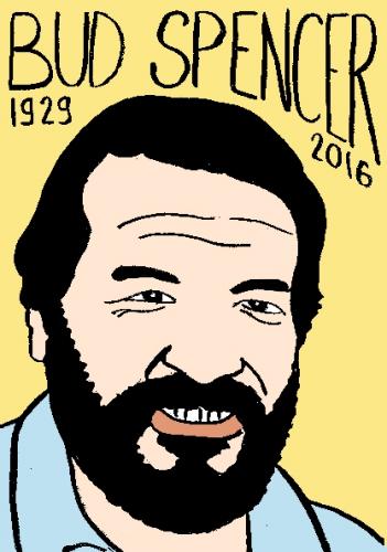 mort de bud spencer, dessin, portrait, laurent jacquy,répertoire des macchabées célèbres,mort d'homme,