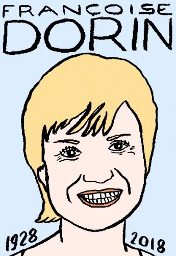 mort de françoise Dorin, dessin, portrait, laurent jacquy,répertoire des macchabées célèbres,mort d'homme,
