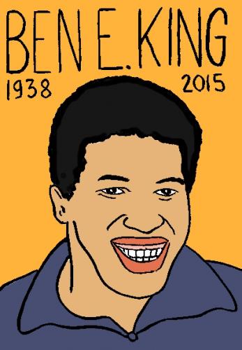 mort de ben E. KIng, dessin, portrait, laurent jacquy,répertoire des macchabbées célèbres, visage,mort d'homme