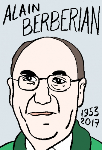 mort d'ialain Berberian, dessin, portrait, laurent jacquy,répertoire des macchabées célèbres,mort d'homme,