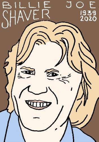 mort de Billie Joe Shaver, dessin, portrait, laurent jacquy,répertoire des macchabées célèbres,mort d'homme,