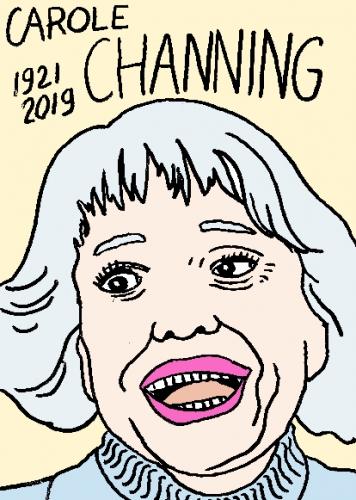 mort de Carole Channing, dessin, portrait, laurent jacquy,répertoire des macchabées célèbres,mort d'homme,