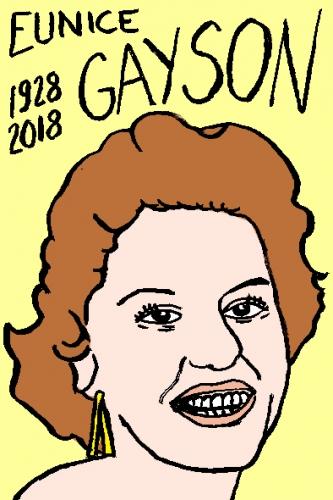 mort d'eunice Gayson, dessin, portrait, laurent jacquy,répertoire des macchabées célèbres,mort d'homme,