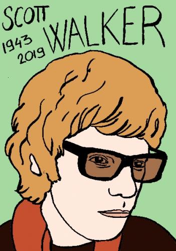 mort de Scott Walker, dessin, portrait, laurent jacquy,répertoire des macchabées célèbres,mort d'homme,