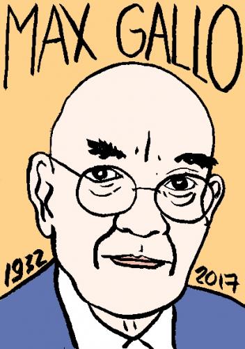 mort de max Gallo, dessin, portrait, laurent jacquy,répertoire des macchabées célèbres,mort d'homme,
