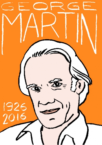 mort de george martin, dessin, portrait, laurent jacquy,répertoire des macchabées célèbres,mort d'homme,