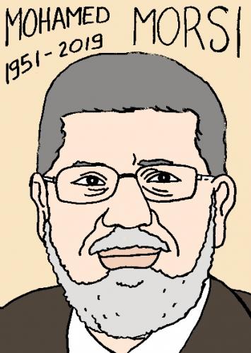 mort de mohamed morsi, dessin, portrait, laurent jacquy,répertoire des macchabées célèbres,mort d'homme,