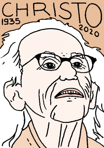 mort de Christo, dessin, portrait, laurent jacquy,répertoire des macchabées célèbres,mort d'homme,