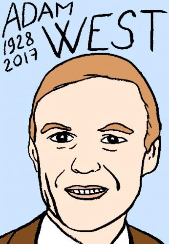mort d'adam west dessin, portrait, laurent jacquy,répertoire des macchabées célèbres,mort d'homme,