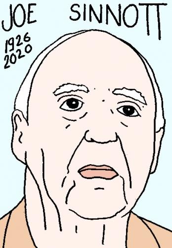 mort de Joe Sinnott, dessin, portrait, laurent jacquy,répertoire des macchabées célèbres,mort d'homme,