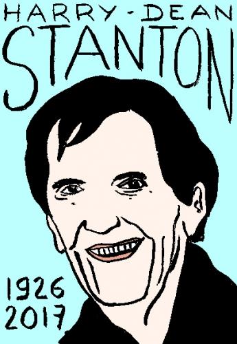 mort de Harry Dean Stanton, dessin, portrait, laurent jacquy,répertoire des macchabées célèbres,mort d'homme