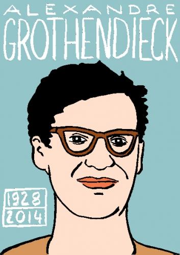 mort d'alexandre grothendieck,dessin,portrait,illustration,laurent jacquy,répertoire des macchabées célèbres