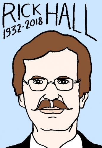 mort de Rick Hall, dessin, portrait, laurent jacquy,répertoire des macchabées célèbres,mort d'homme,