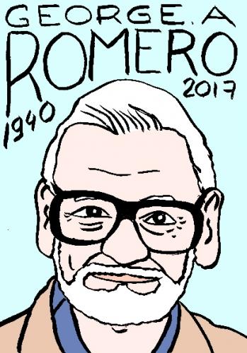mort de George A. Romero, dessin, portrait, laurent jacquy,répertoire des macchabées célèbres,mort d'homme,