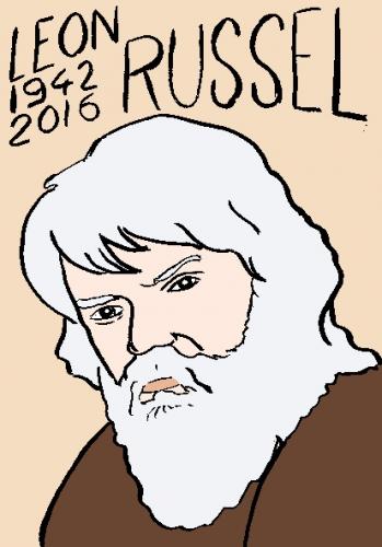 mort de leon russel, dessin, portrait, laurent jacquy,répertoire des macchabées célèbres,mort d'homme,