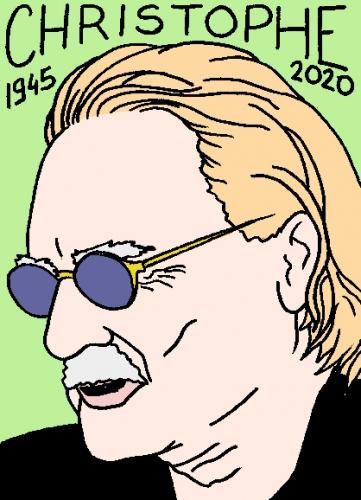 mort deChristophe, dessin, portrait, laurent jacquy,répertoire des macchabées célèbres,mort d'homme,