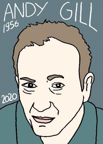 mort d'Andy Gill, dessin, portrait, laurent jacquy,répertoire des macchabées célèbres,mort d'homme,
